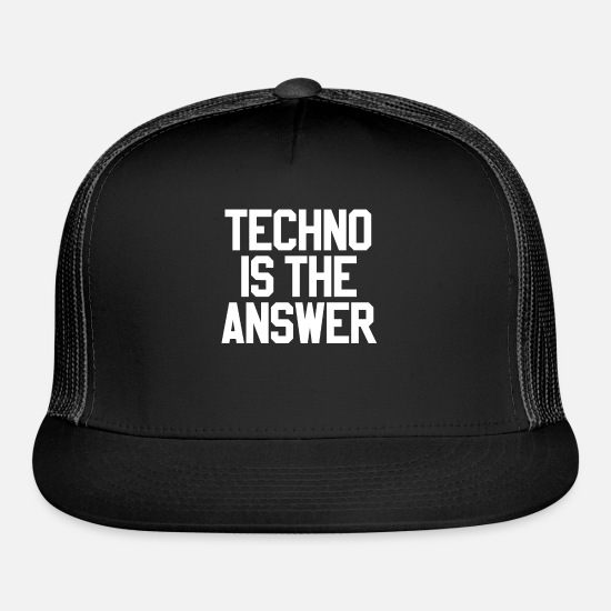 Techno Caps - Electronic Dance Techno Techno - Trucker Cap black/black
