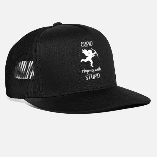 Valentine's Day Caps - Valentine Cupid Rhymes With Stupid - Trucker Cap black/black