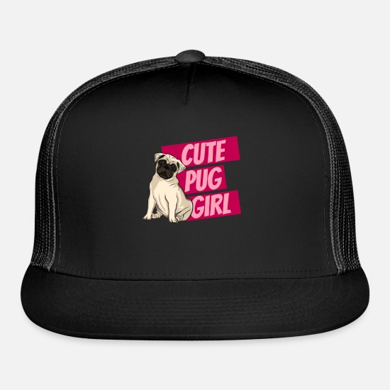 Dog Owner Caps - Cute Pug Girl - Trucker Cap black/black