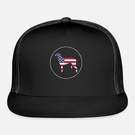 Patriot Caps - Scottish Deerhound Patriotic Dog American Flag - Trucker Cap black/black
