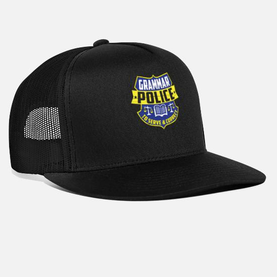 College Caps - Grammar Police Grammar Teacher Linguist Gift - Trucker Cap black/black