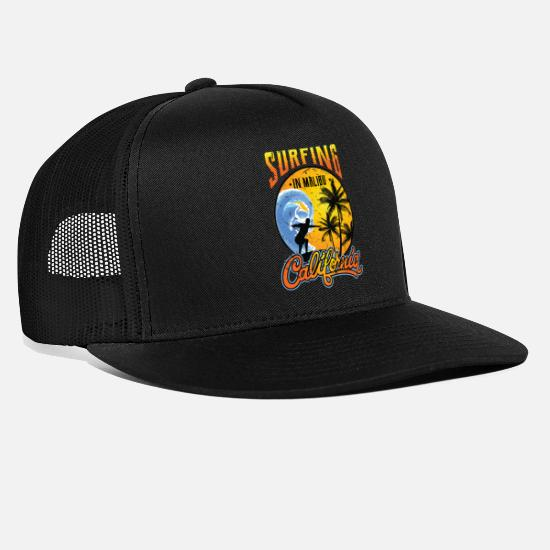 Water Caps - California Malibu beach surfing sea summer sand - Trucker Cap black/black
