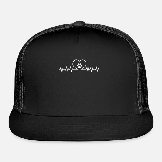 Print Caps - Paw Print Heartbeat Veterinarian Vet Animal Love - Trucker Cap black/black