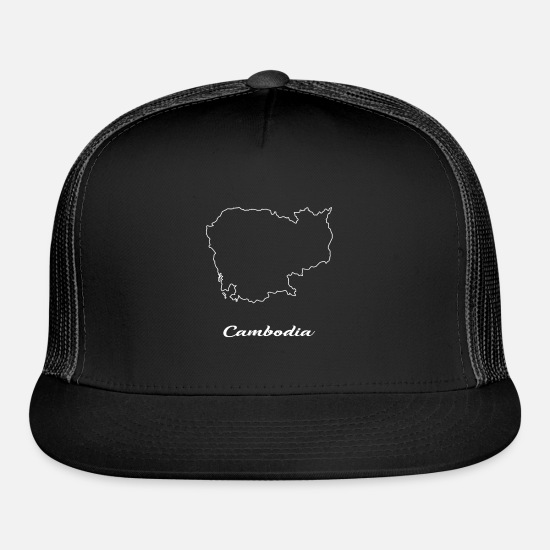 Geography Caps - Cambodia Map Map - Trucker Cap black/black