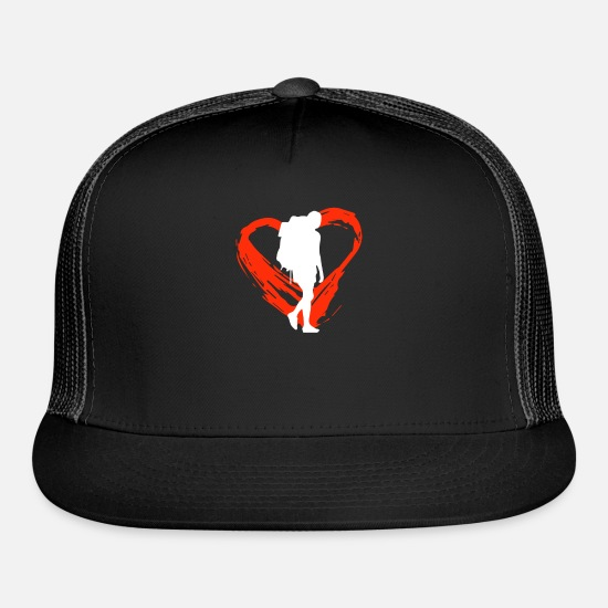 Camping Caps - A Heart For Backpacking - Trucker Cap black/black