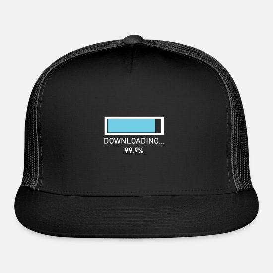 Wait Caps - funny downloading design for nerds - Trucker Cap black/black