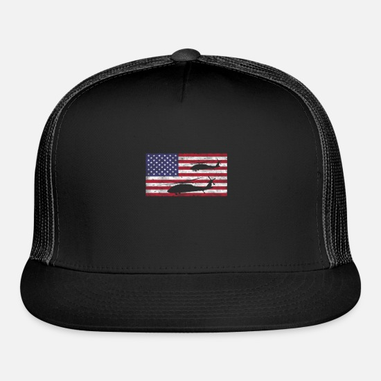 Helicopter Caps - Helicopter American Flag Pilot Helicopter T-Shirt - Trucker Cap black/black