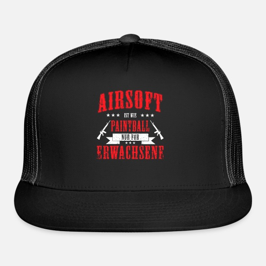 Airsoft Caps - Airsoft Paintball Guns Adult Sport German Gift - Trucker Cap black/black