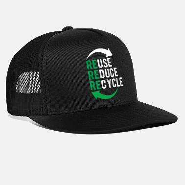 Green Text Recycle Reuse Ecology Green Logo Recycling Tshirt - Trucker Cap