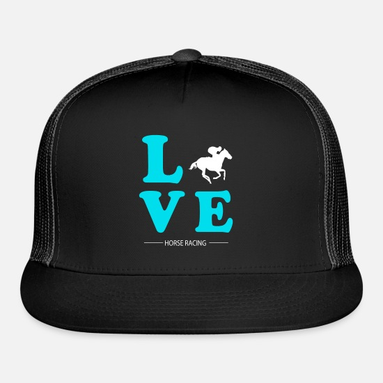 Horse Racing Caps - HORSE RACING LOVE - Trucker Cap black/black