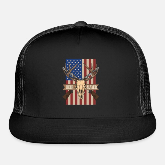 Hunting Caps - Deer Hunting USA Flag - Trucker Cap black/black