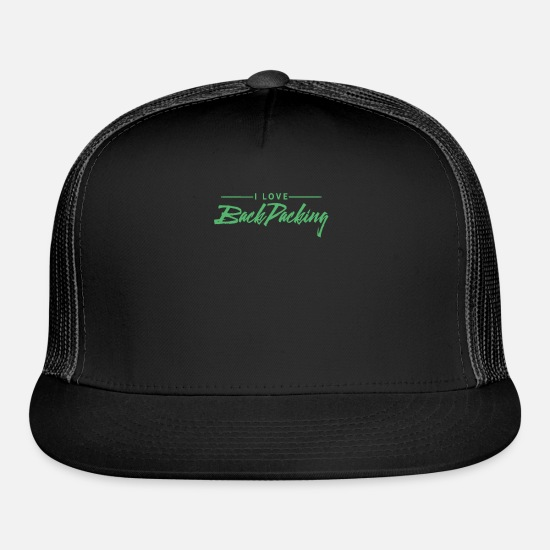 Backpack Caps - Backpack Travel Backpacker Backpacking Traveling - Trucker Cap black/black