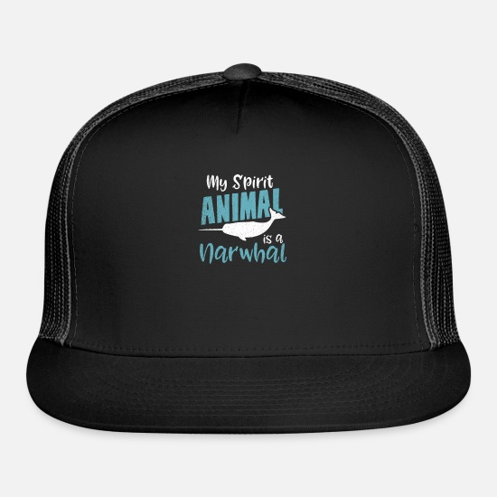 Blue Caps - Narwhal My Spirit Animal Gift - Trucker Cap black/black