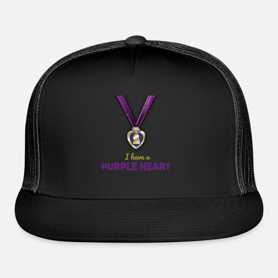 Heart Caps - I have a Purple Heart Medal War Veteran - Trucker Cap black/black