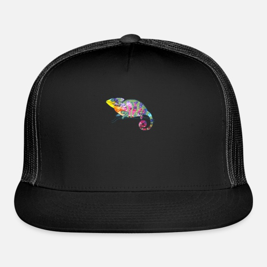 Colorful Caps - Chameleon Colorful Rainbow Gift - Trucker Cap black/black