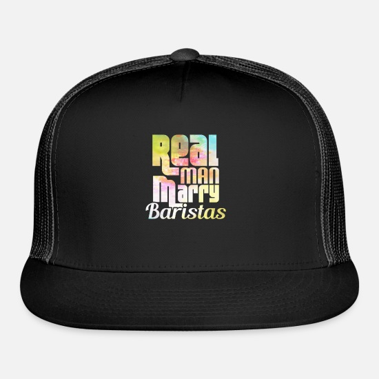 Career Caps - REAL MAN MARRY BARISTAS - Trucker Cap black/black