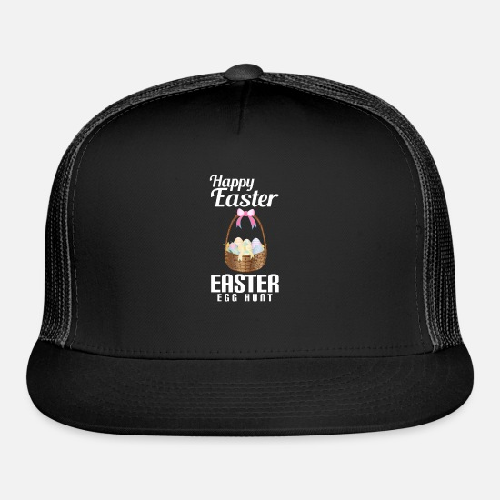 Easter Caps - Happy Easter Egg Hunt - Trucker Cap black/black