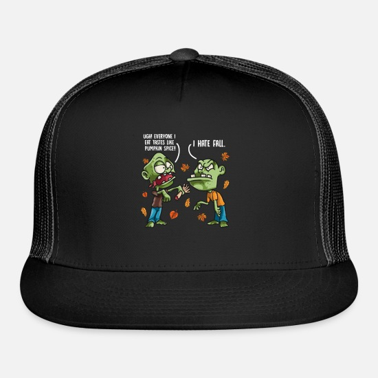 Fall Caps - Funny Zombies and Pumpkin Spice Fall Gift design - Trucker Cap black/black