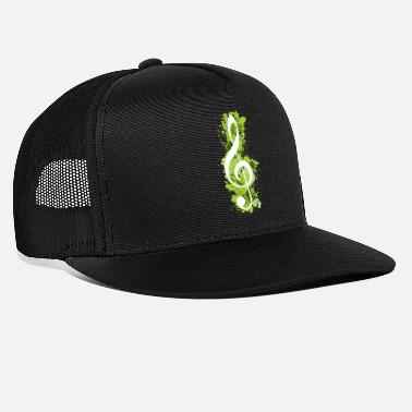 Splatter White Treble Clef Paint Splatters - Lime Green - Trucker Cap