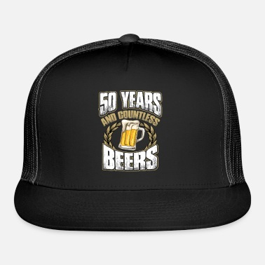 Funny 50th Birthday TShirt Fifty Years And Countless Beers Trucker