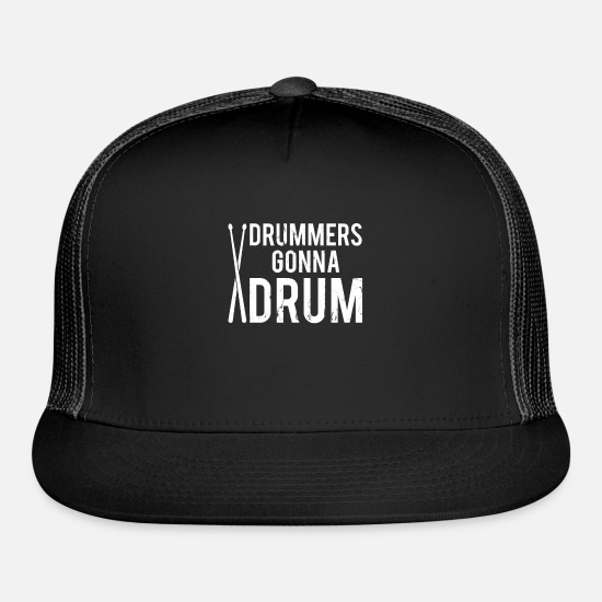 Drumsticks Caps - drummer drumsticks band music rock percussion gift - Trucker Cap black/black