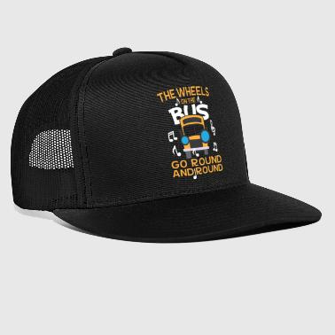 Back To School Funny Back To School Musical Notes School Bus - Trucker Cap
