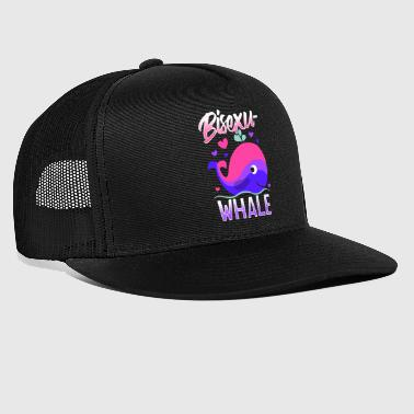 BisexuWHALE Funny Bisexual Pride Illustration - Trucker Cap
