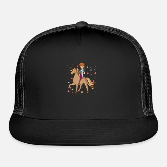 Dressage Caps - Happy And Dreamy Horse Girl Riding Energy - Trucker Cap black/black