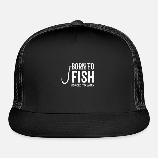 BASS BORN TO FISH FORCED TO WORK FISHING FISHERMAN BASEBALL CAP HAT CAMOUFLAGE