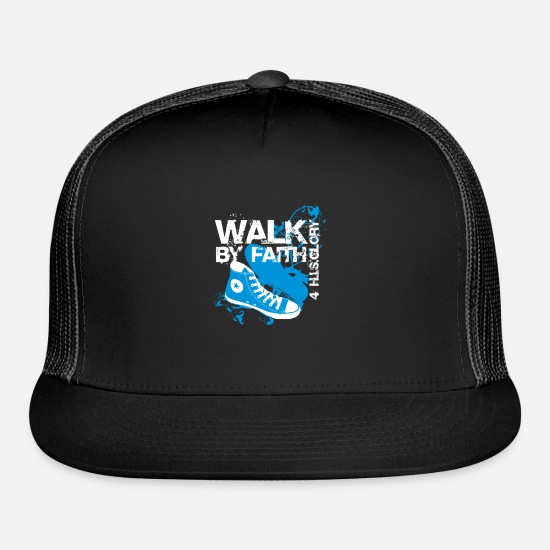 Walk Caps - Christian Walk By Faith T Shirt - Trucker Cap black/black