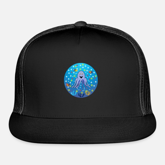 Kindergarten Caps - octopus stars dreamy happy gift idea - Trucker Cap black/black