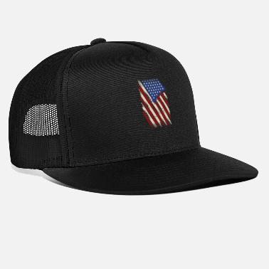 American Icon Distressed American Flag, American Flag - Trucker Cap