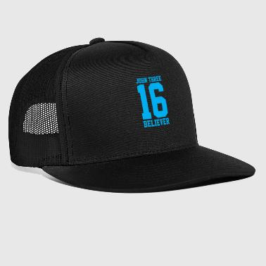 Bible Verse John 3:16 Believer, Lite Blue, Christian - Trucker Cap