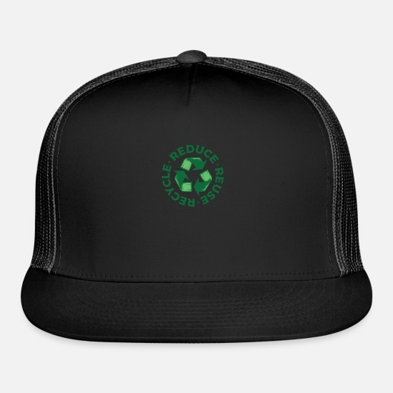 Recycle Caps - Reduce Reuse Recycle - Trucker Cap black/black