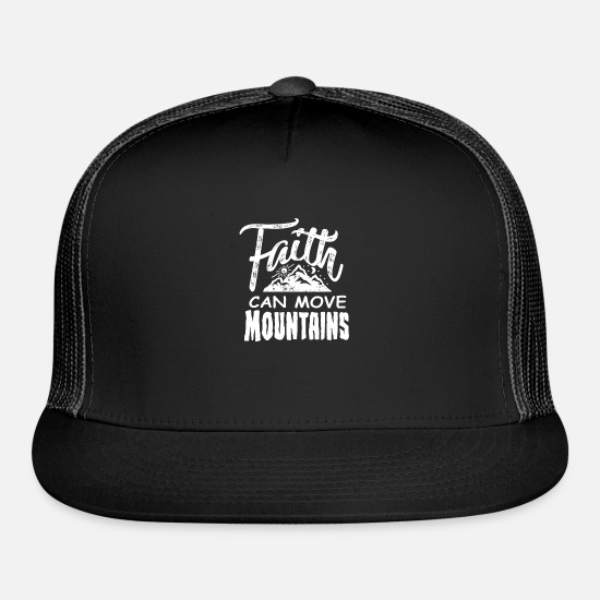 Christian Caps - Faith can move mountains Christian for Men Women - Trucker Cap black/black