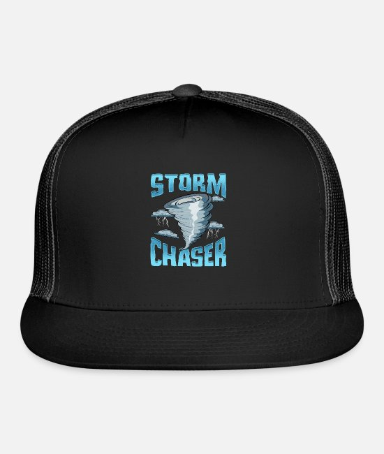 Weather Caps & Hats - Cute Storm Chaser Severe Weather Tornado Obsessed - Trucker Cap black/black