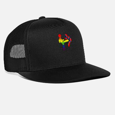 Confederate LGBTQ Rainbow Flag Kicking Confederate Stickman - Trucker Cap