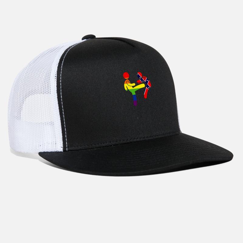 LGBTQ Rainbow Flag Kicking Confederate Stickman Trucker Cap ... 1d07a736b31