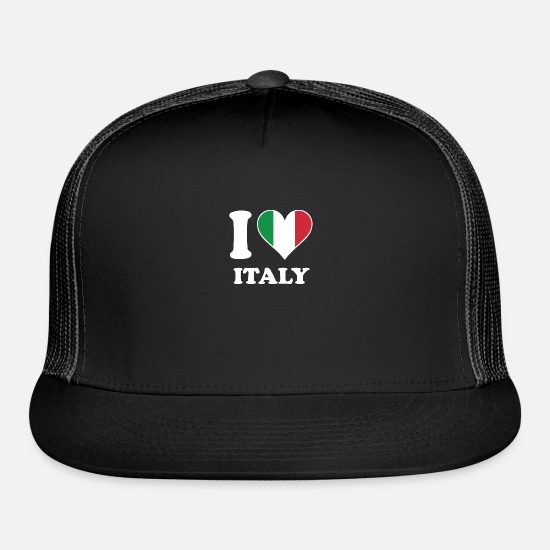 Love Caps - I Love Italy Italian Flag Heart - Trucker Cap black/black