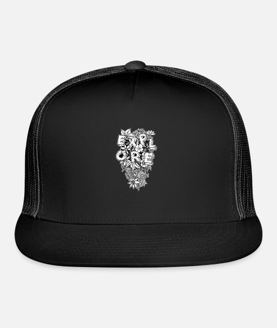 Jungle Fever Caps & Hats - Explore floral - Trucker Cap black/black