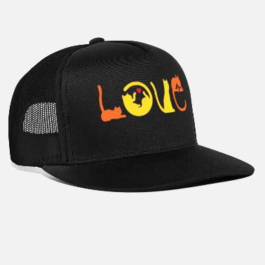 Rock Love cat tItle calligraphy typography text quotes - Trucker Cap