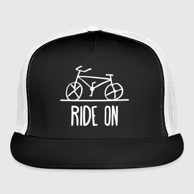 bicycle ride on bike cycle wheels drawing cycling  - Trucker Cap
