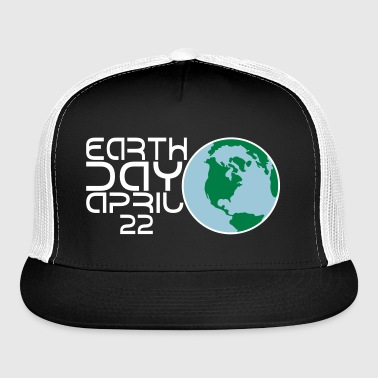 Earth Day Apr 22 Globe 3 Color Vector - Trucker Cap