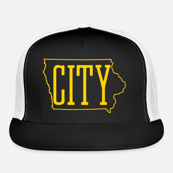 Iowa Caps - Iowa City - City Truckers Hat - Hawkeye Colors  - Trucker Cap black/white