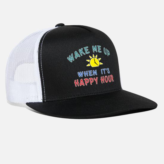 Birthday Caps - Happy Hour funny Alcohol Craft Beer drinkers gift. - Trucker Cap black/white