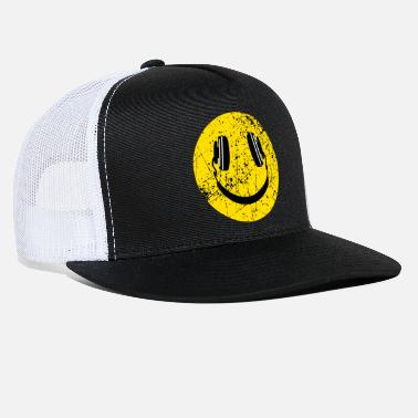 Smiley Headphones Music Lover Headphones Smiley - Trucker Cap