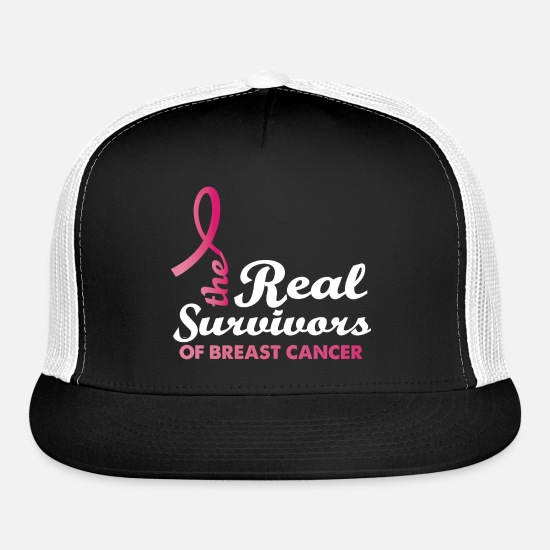 Cancer Caps - The Real Survivor Of Breast Cancer - Trucker Cap black/white