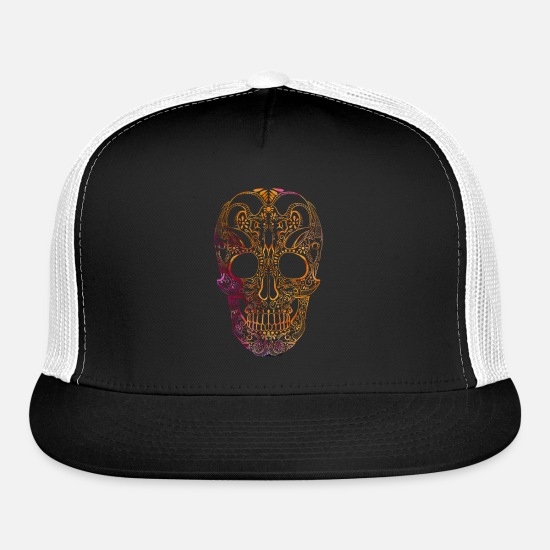 Death's Head Caps - Skull - Trucker Cap black/white