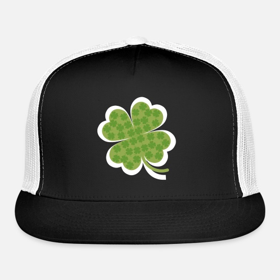 Clover Caps - Lucky Clover Leaf - Trucker Cap black/white