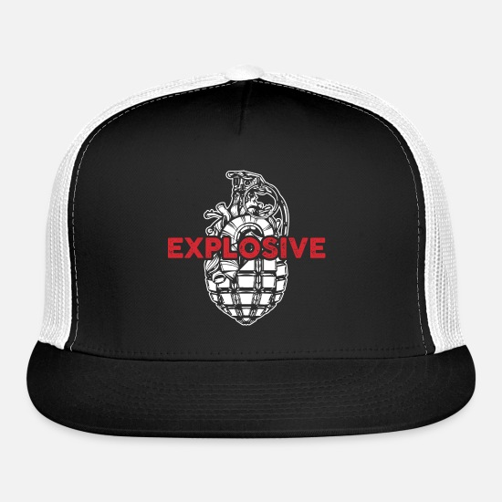 Whiz Caps - Explosive Grenade Explosion Weapon Cool Gift - Trucker Cap black/white